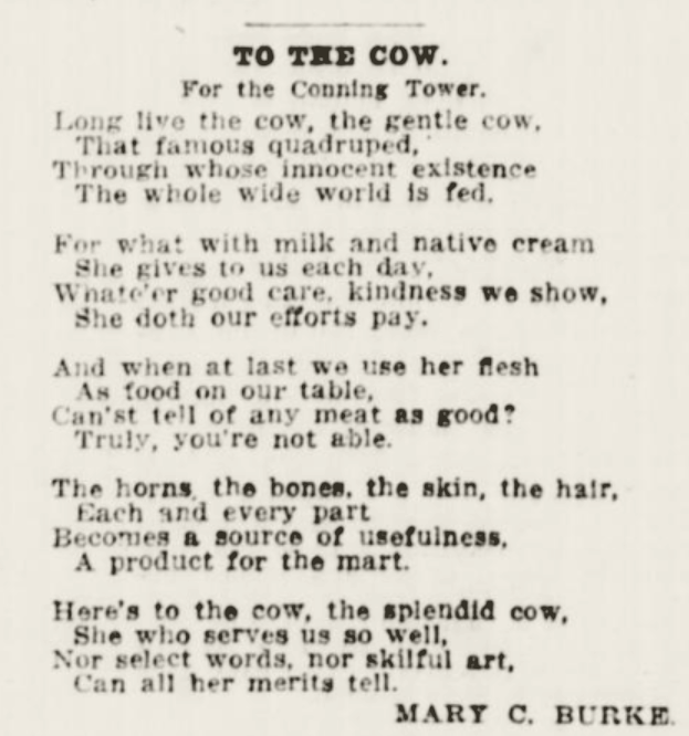An Ode To The Cow 1914 Juxt In Time